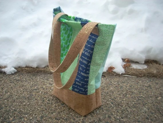 handpicked blue and green with metallic cork tote bag - FREE SHIPPING