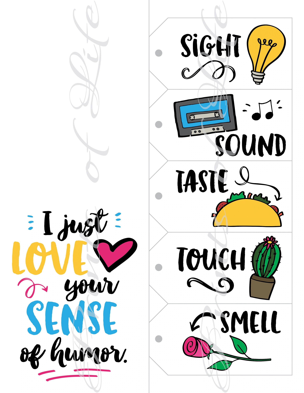 Five Senses T Tags Amp Card Instant Download Printable