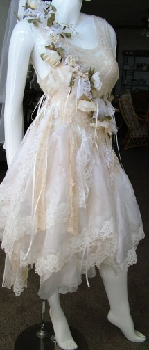 French Country Wedding Dress Tattered Shabby Cottage Style