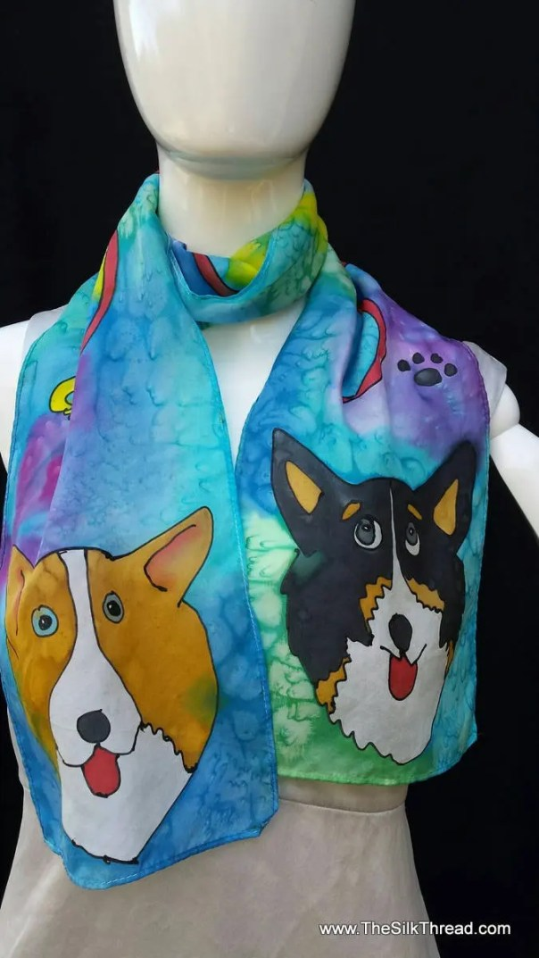 Corgi Silk Scarf. Red and Tri, Original Hand Drawn Corgis by artist, whimsical puppies, Canine, Dog and Custom Designs of your Pet available
