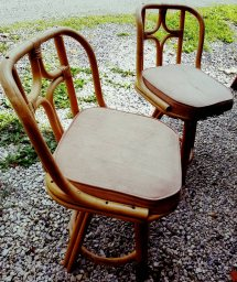 Vintage Patio Chairs Bamboo Set Of