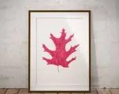 Red Leaf Print. Botanical...