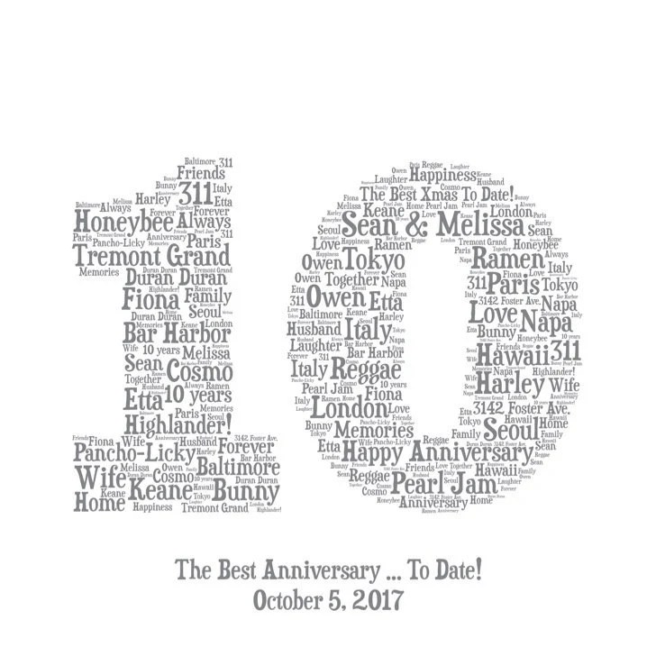 10TH ANNIVERSARY GIFT Word Art Printable Gift 10 Year