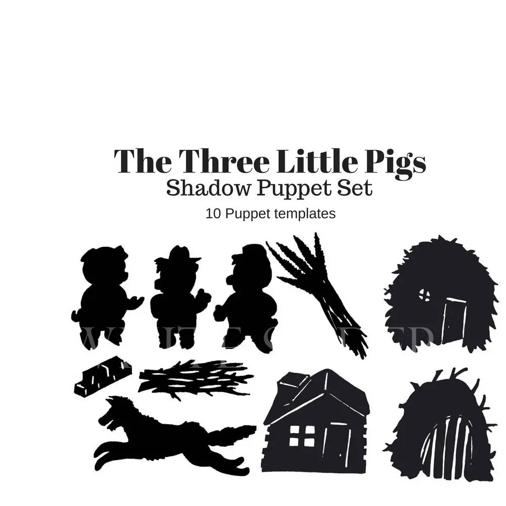 Instant Download The Three Little Pigs digital shadow puppet