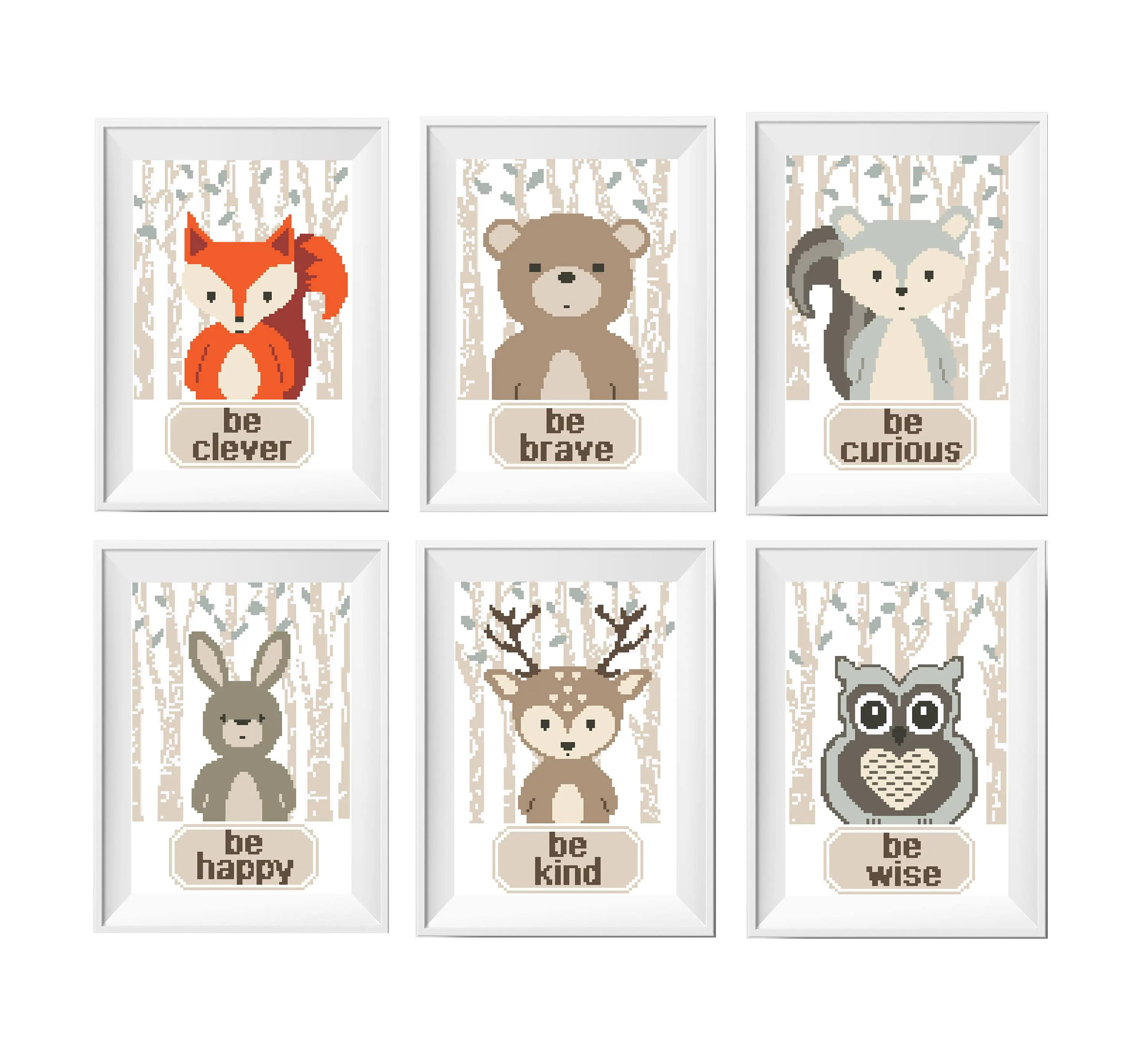 Animals Cross Stitch Printable Pattern Woodland Animal Deer Baby Shower Diy T Counted