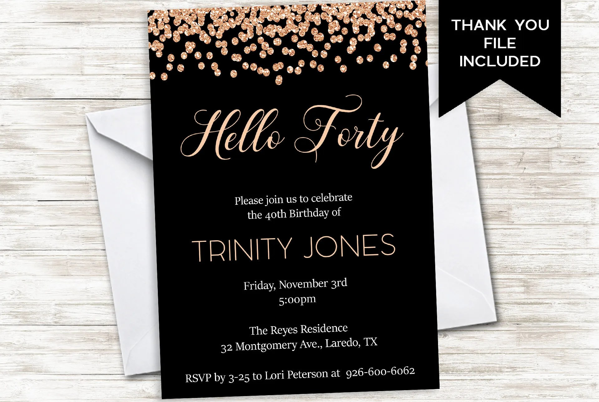 Forty Birthday Invitation Invite Womens 40th Hello Forty 40