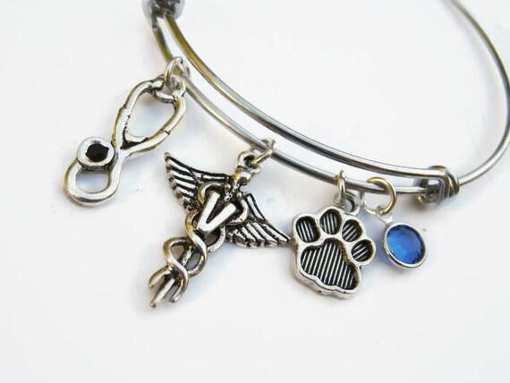 Veterinary Caduceus Bracelet Expandable Bangle Bracelet