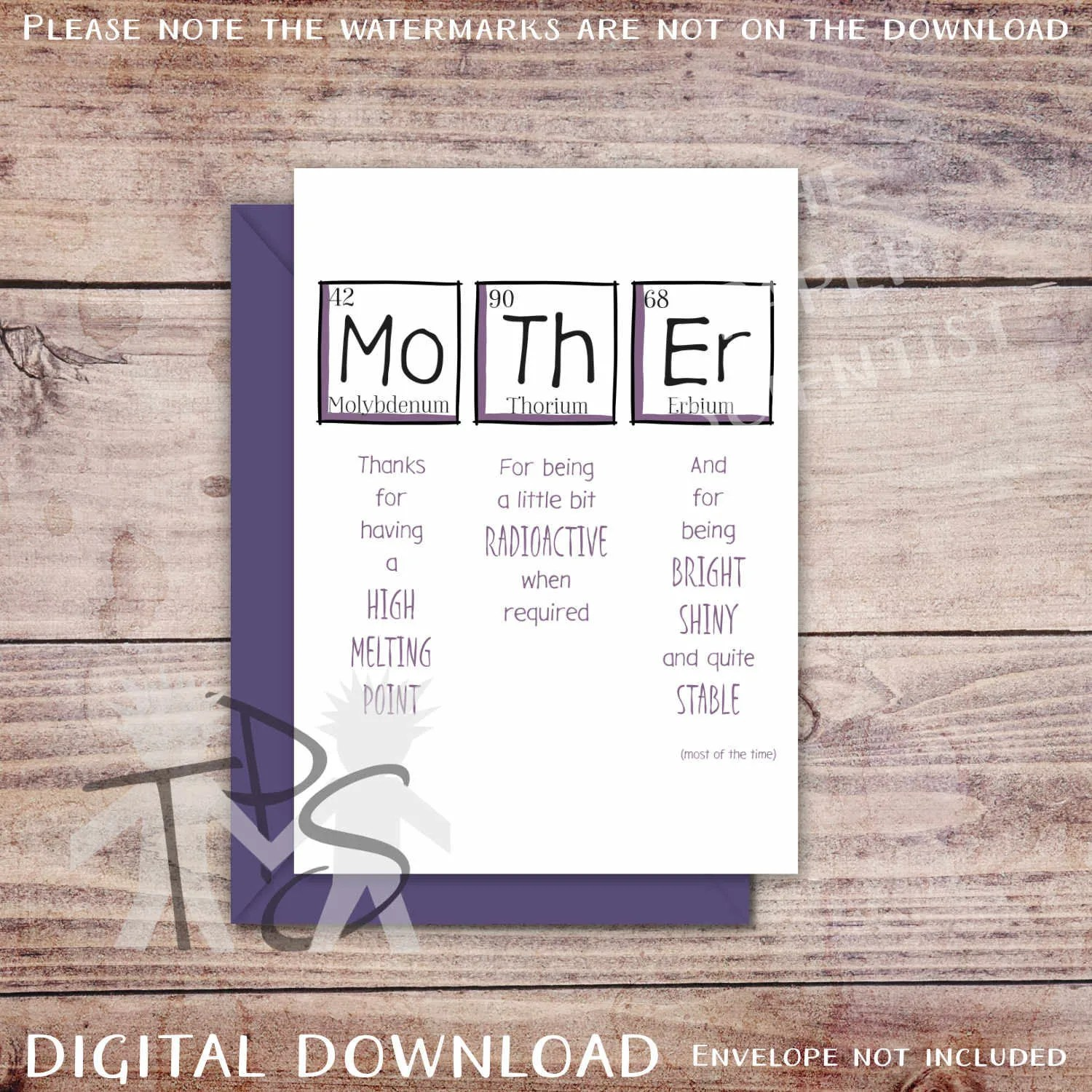 Printable Mothers Day Card Greetings Card Periodic