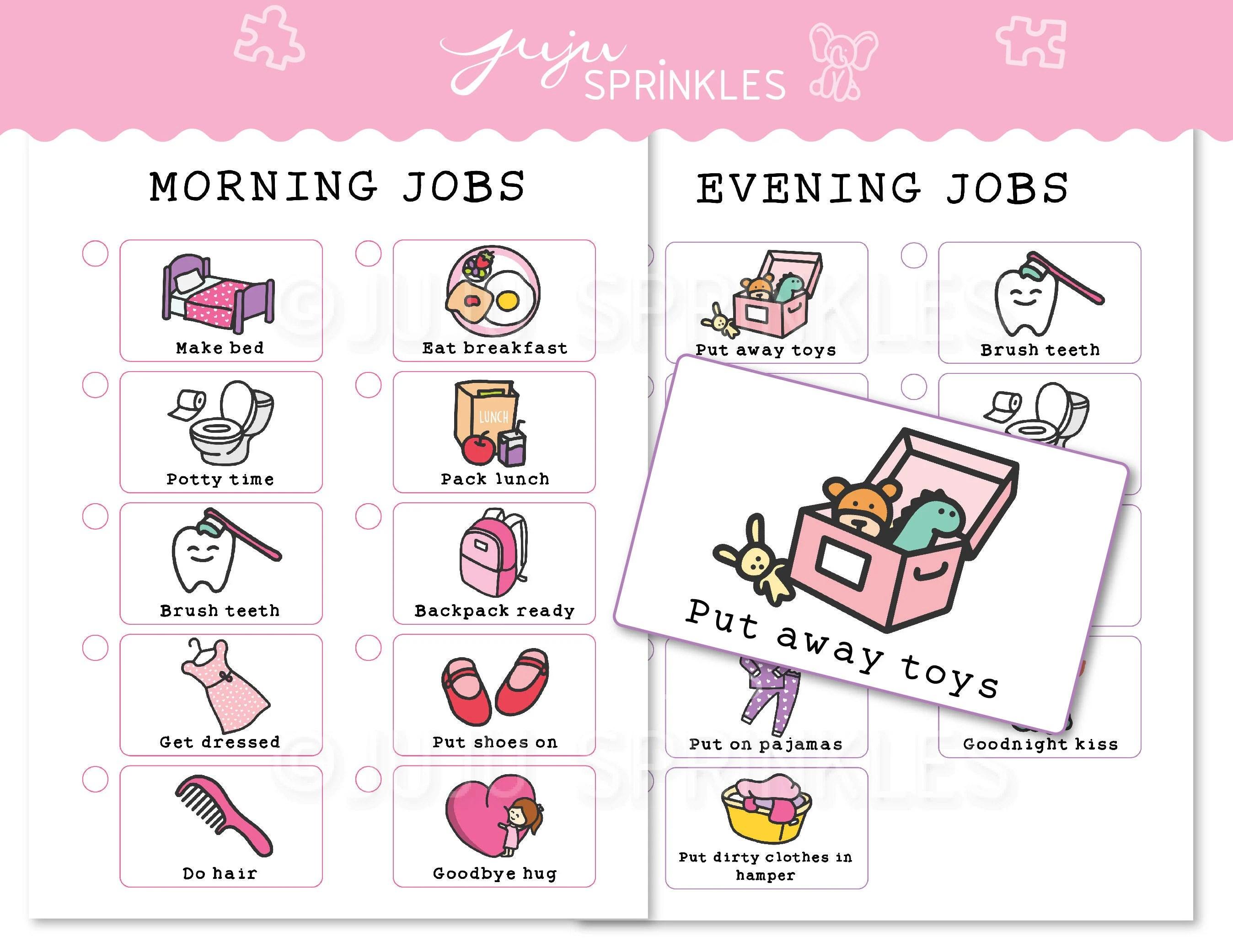 Kids Chore Chart Printable Kids Routine Chart Girl Chore