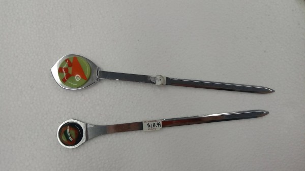 Metal Letter Opener with Fused Glass Decorative Ends