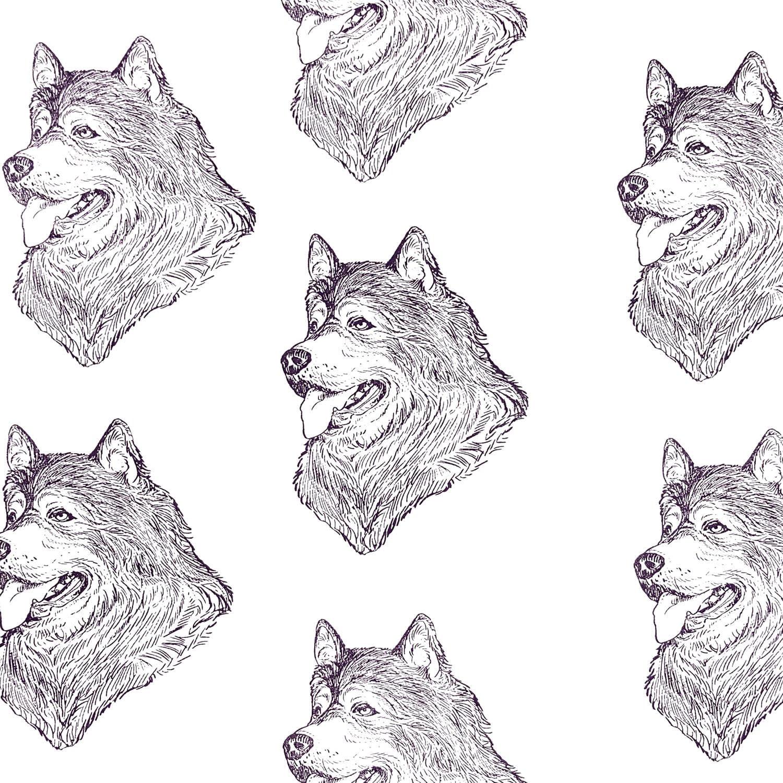 Alaskan Malamute Dog Fabric ALL COTTON Hot Diggity Dog Novelty