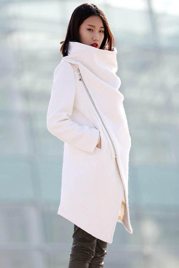 Winter Coat Wool White Womens Jackets