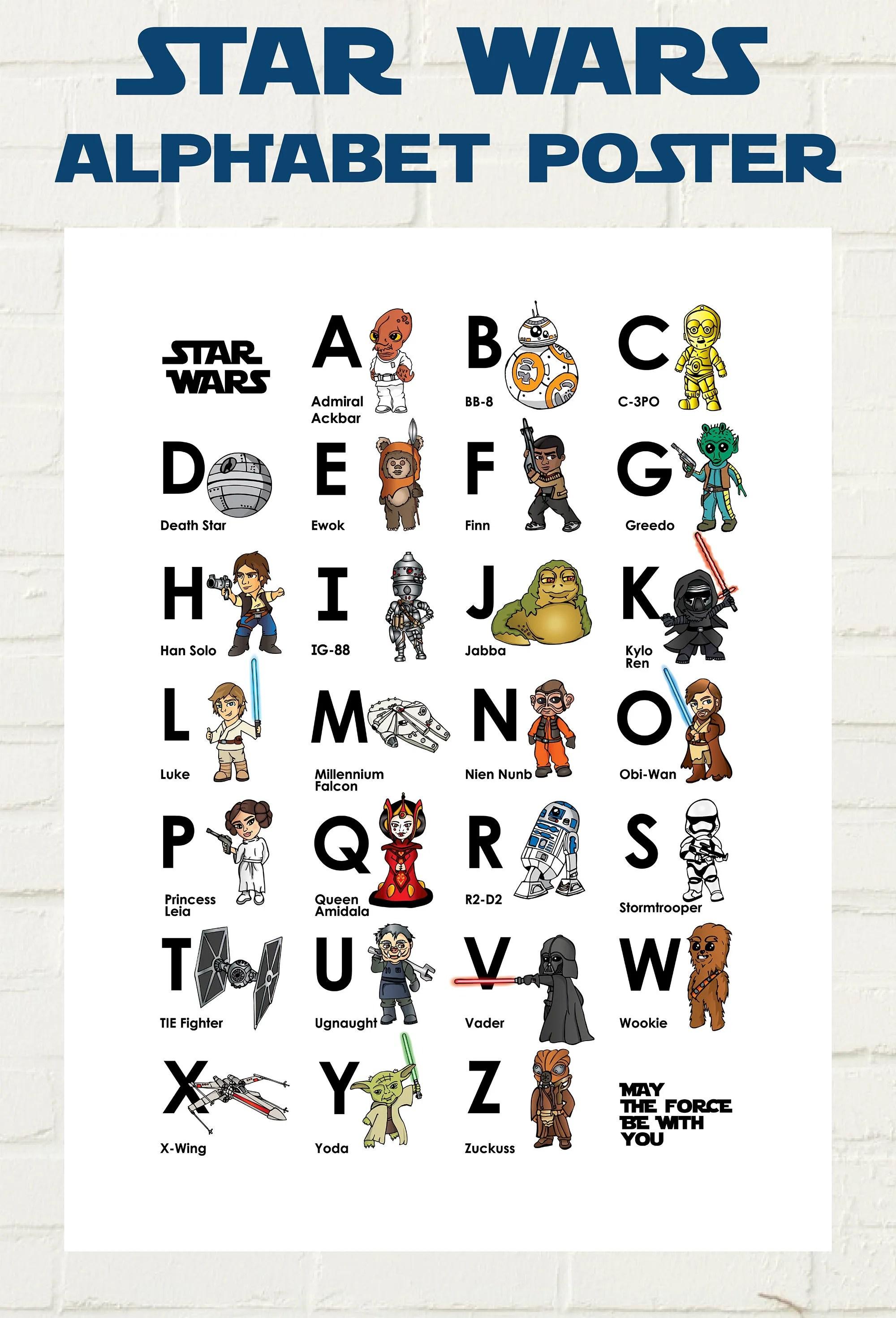 Instant Download Star Wars Kids Alphabet Characters Print