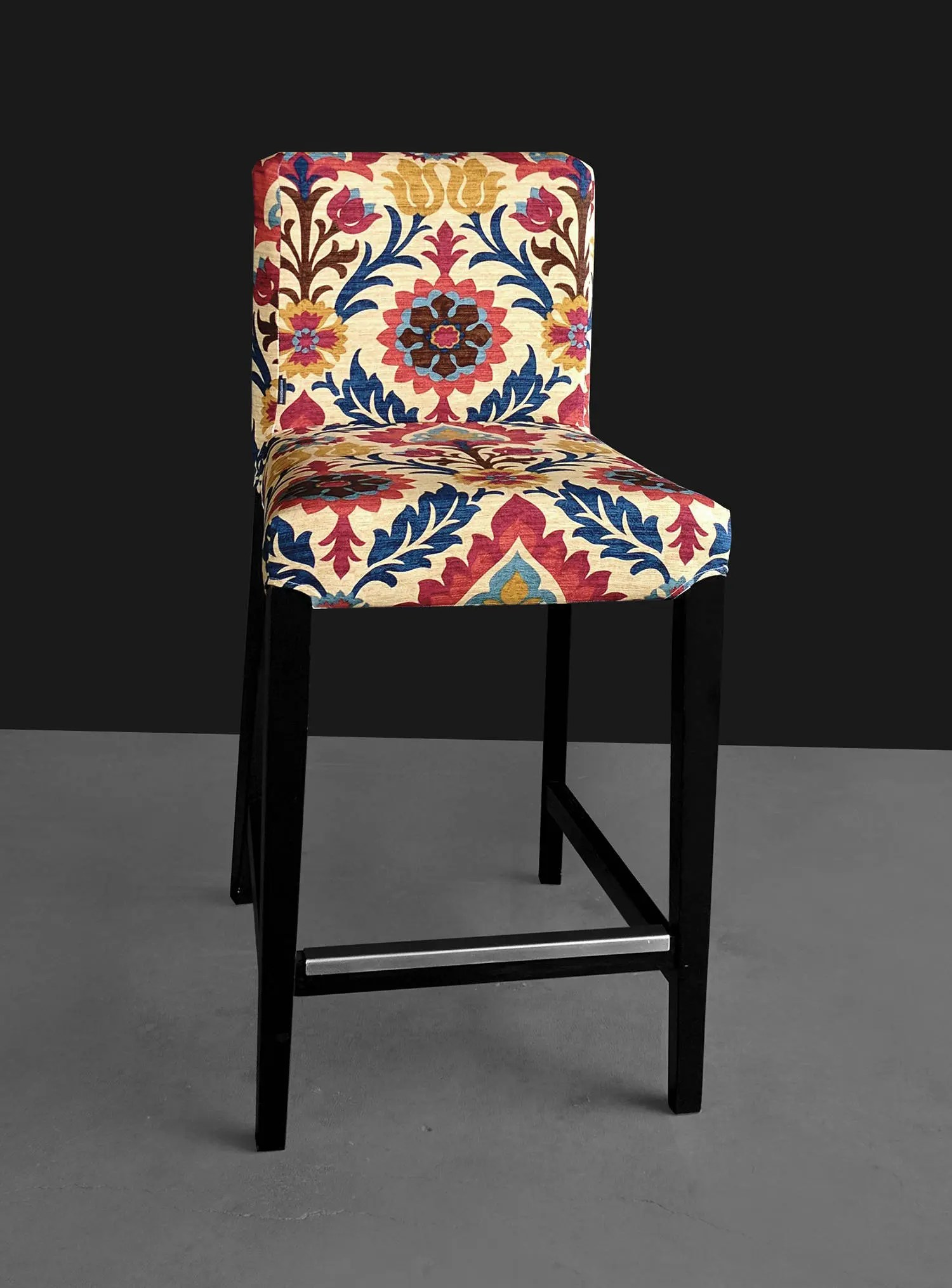 bar stool chair rung protectors folding beach chairs target australia colorful flowers ikea henriksdal cover