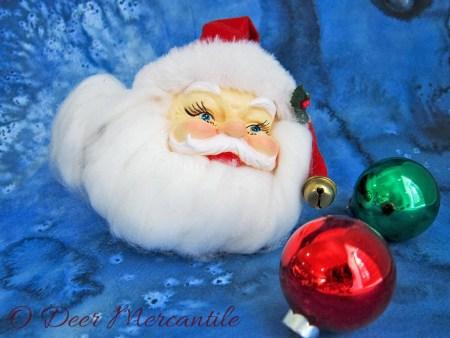 Santa Face Plastic Felt Christmas Tree Ornament: Mid Century Hand Painted Kris Kringle Head