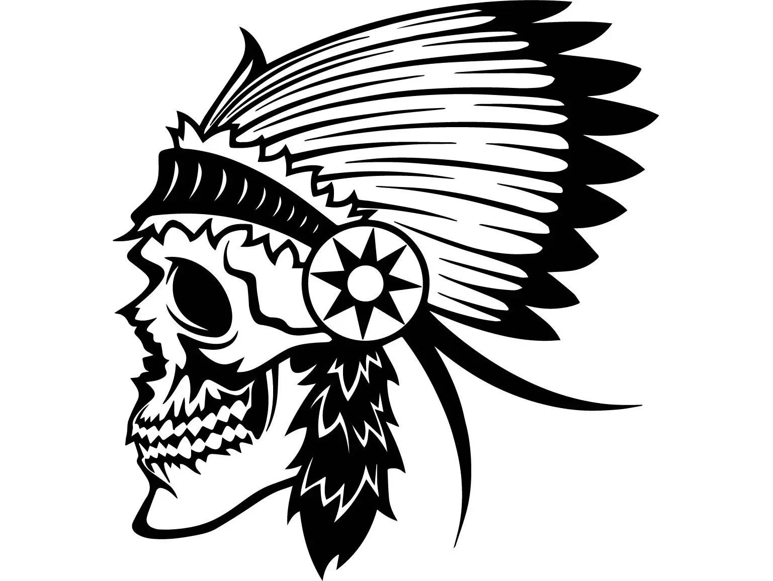 Indian Skull #2 Native American Warrior Headdress Feather