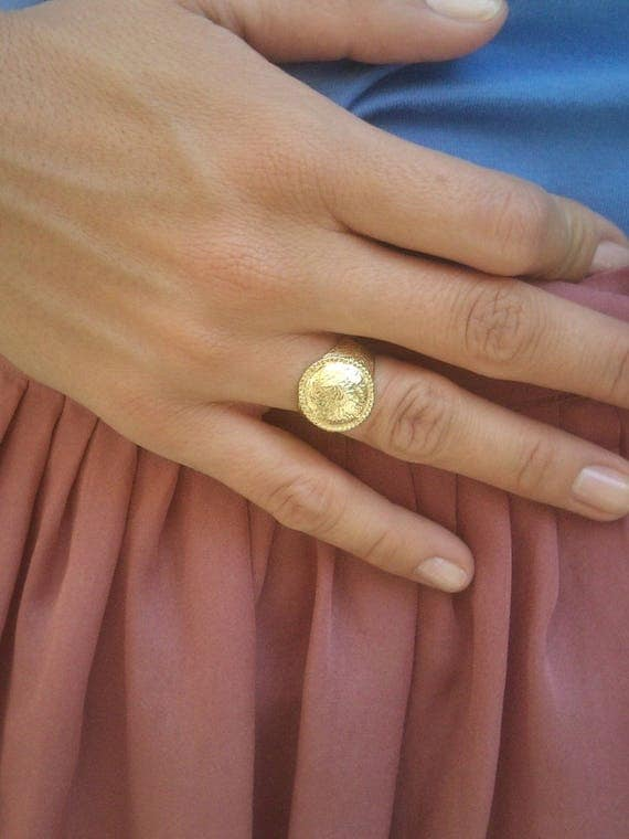 Womens Signet Ring Gold Signet Ring Gold Dome Ring Pinky