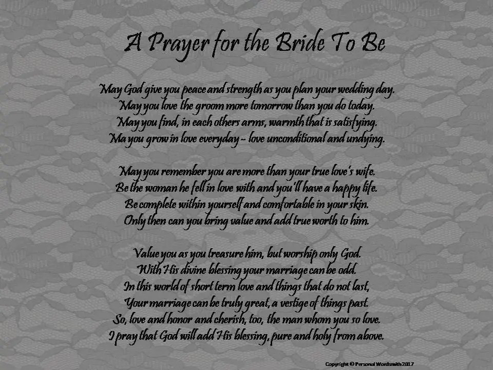 Printable Prayer for the Bride to Be Prayer for Bride