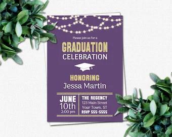 PRINTABLE High School or College Graduation Party Invitations - Graduation Invitations - DIY Invitation | School Colors | Rustic Lights