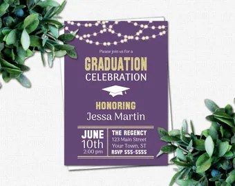 PRINTABLE High School or College Graduation Party Invitations - Graduation Invitations - DIY Invitation | School Colors | Rustic Lights