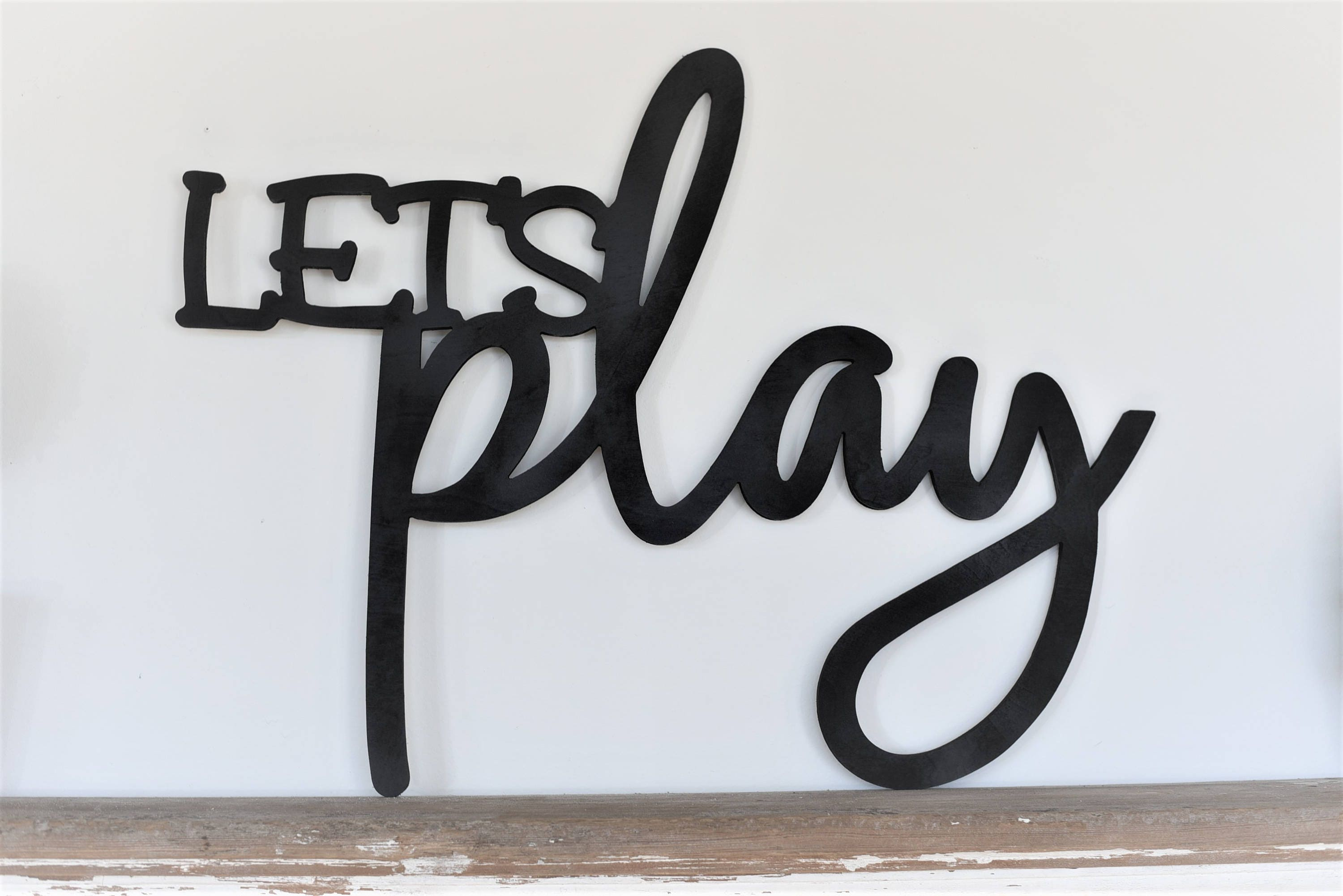 Let S Play Word Wood Cut Wall Art Sign Decor Kids Home