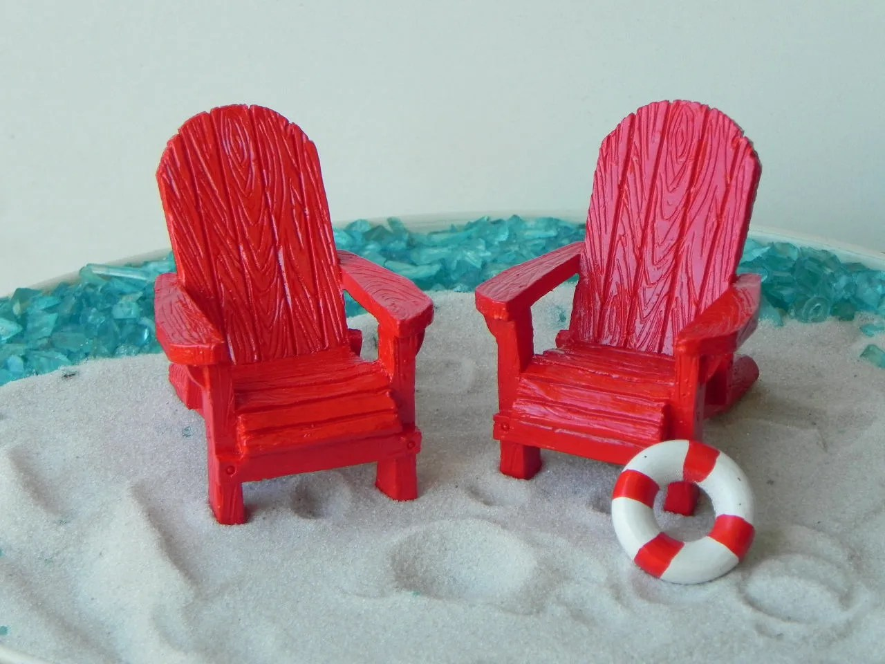 Mini Adirondack Chairs Miniature Adirondack Chair Fairy Beach Garden Supply Red
