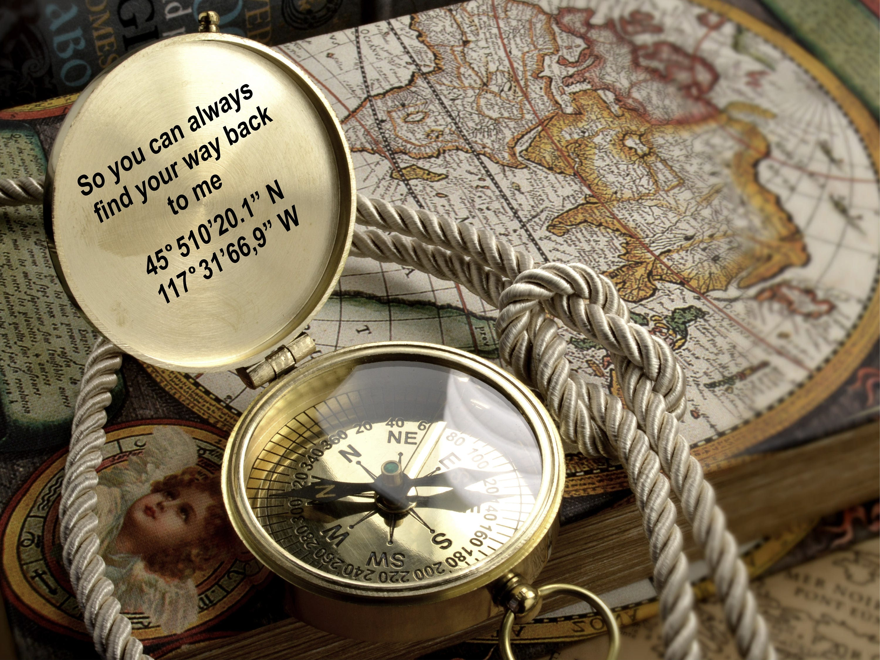 Engraved Compass Baptism Gift Retro Vintage Gift