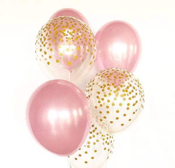 pink and gold confetti latex
