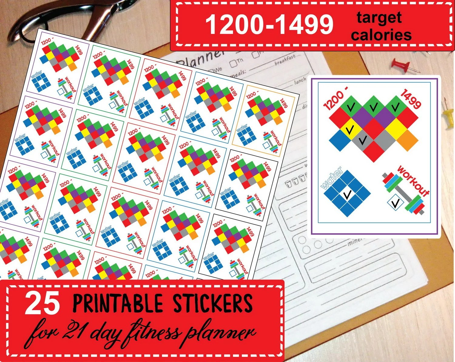 21 Day Fitness Planner Stickers Stickers Fort To Use 21