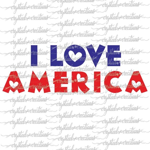 Download I Love America SVG PNG Silhouette Cut Instant Download Cut