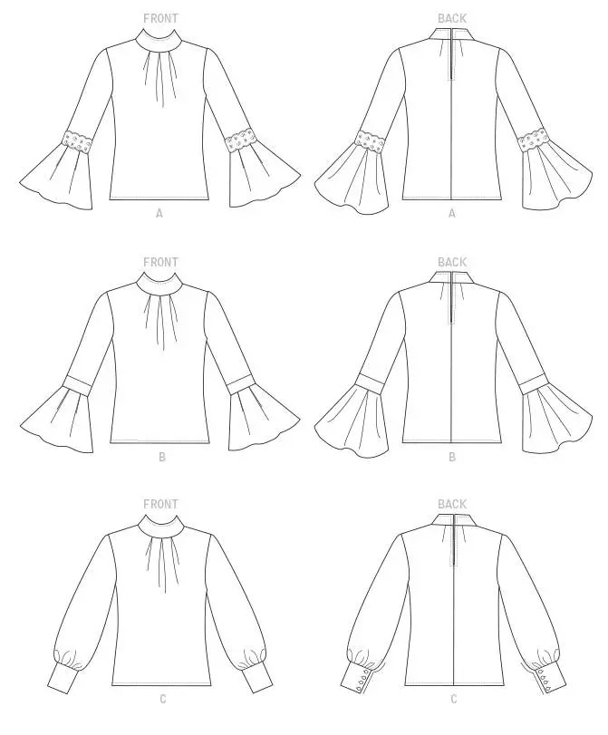 Sewing Pattern for Misses' TOP w/ SLEEVE & CUFF Variations