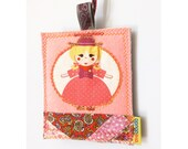 Luggage identifier tag with the pattern of an American doll, READY TO SHIP