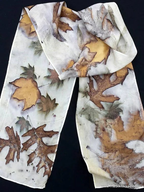 """Stunning Ecoprinted Silk Scarf, maple, oak designs & colors imprinted from Nature, 8"""" x 72"""", Natural silk art by artist, OOAK, USA ship FREE"""