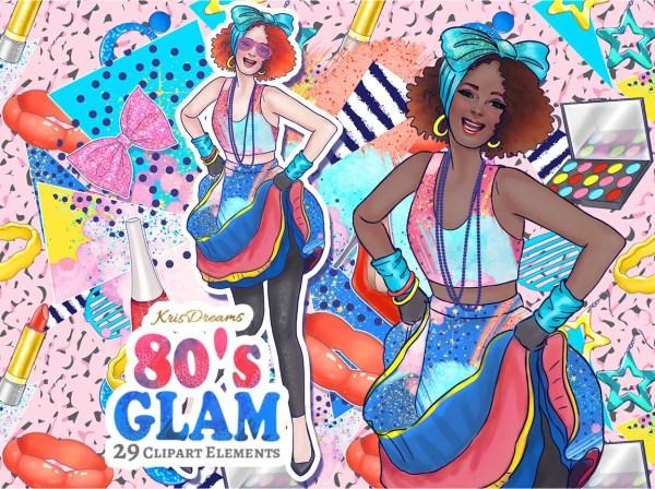 80s fashion clip art digital