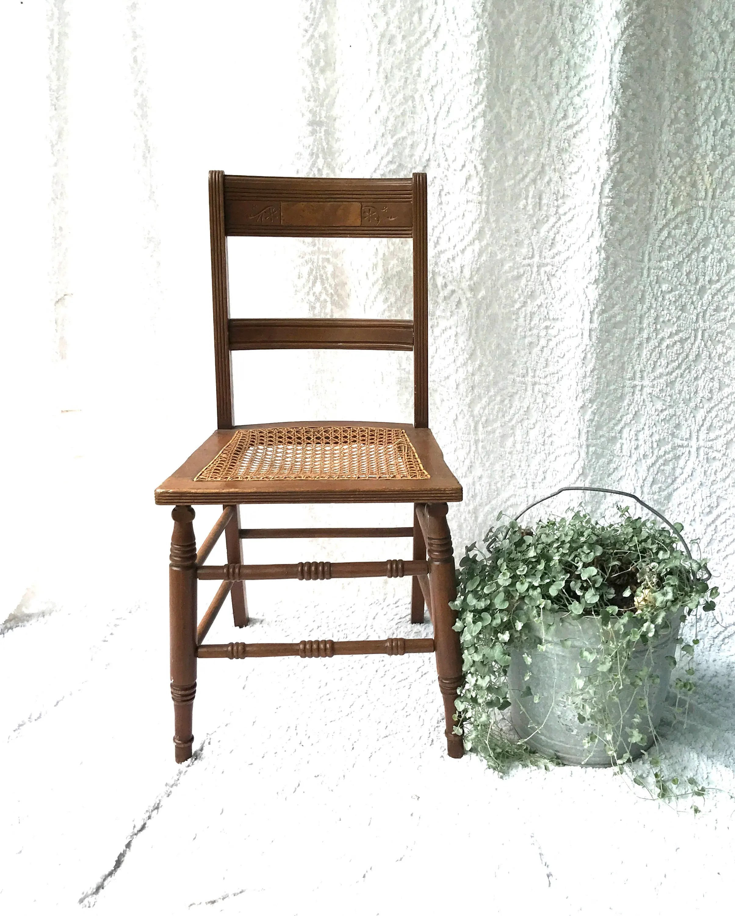 cane bottom chairs lawn academy vintage wooden chair caned wood kitchen