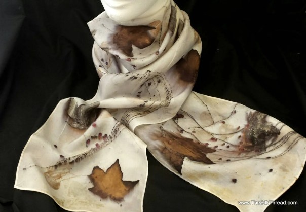 """Natural Silk Scarf, eco-printed with maple, pine and sumac by artist, all natural, sustainable, renewable slow fashion art, 8"""" x 72"""" 125B"""
