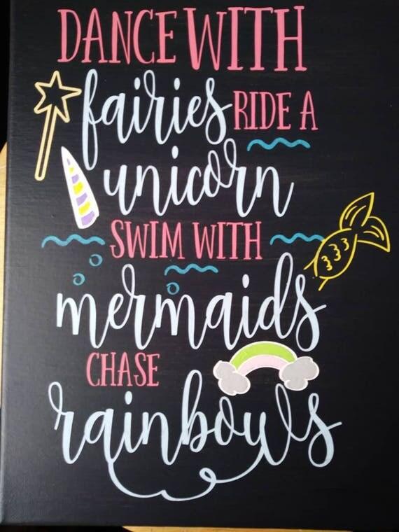 Fairies Unicorns Mermaids Rainbow Wall Decor Girls