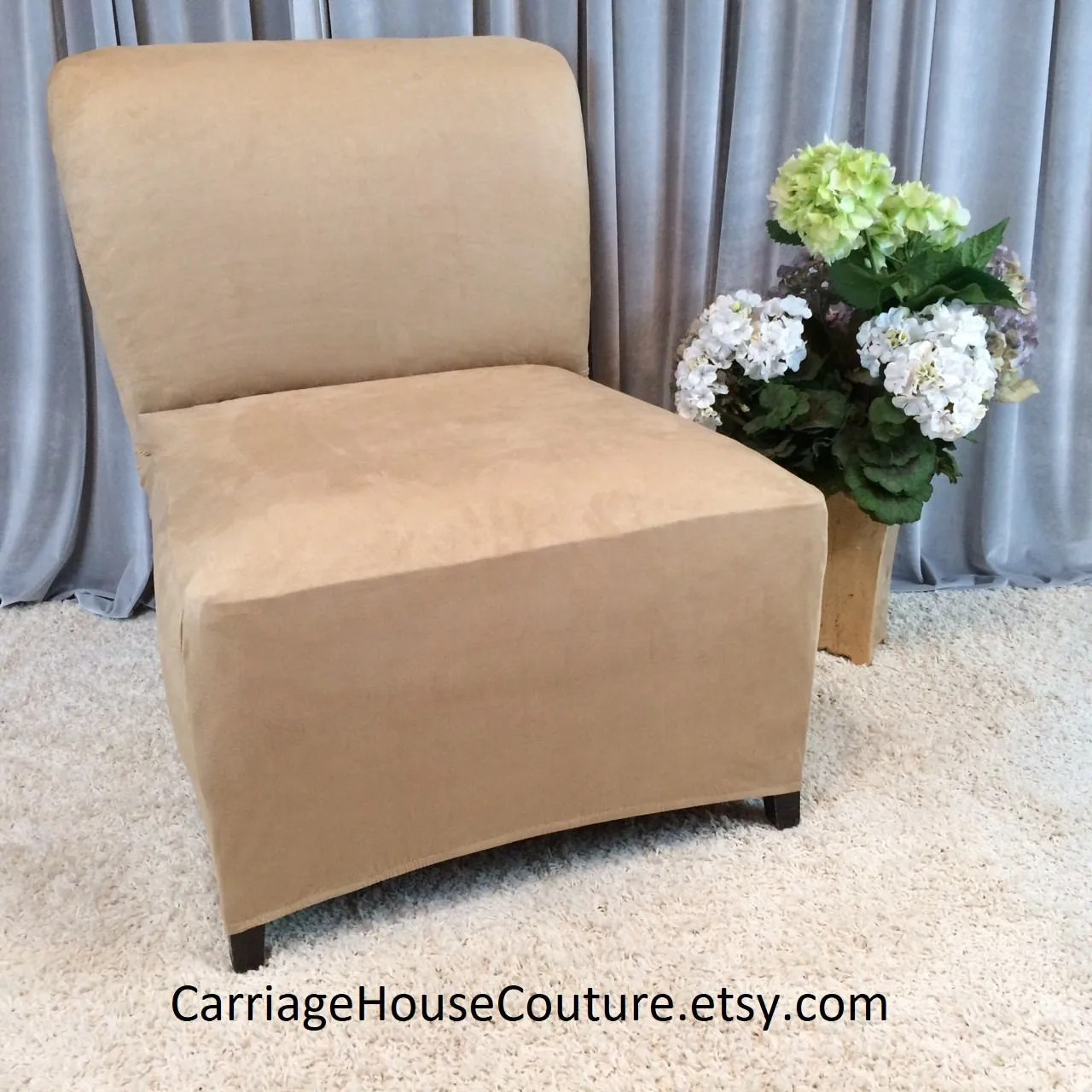 grey parson chair covers plastic chairs costco slipcover beige suede stretch cover for armless