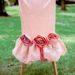 Blush Chair Sashes Baby Chairs For Eating Rosette Sash Pink Rose Floral Embellishment