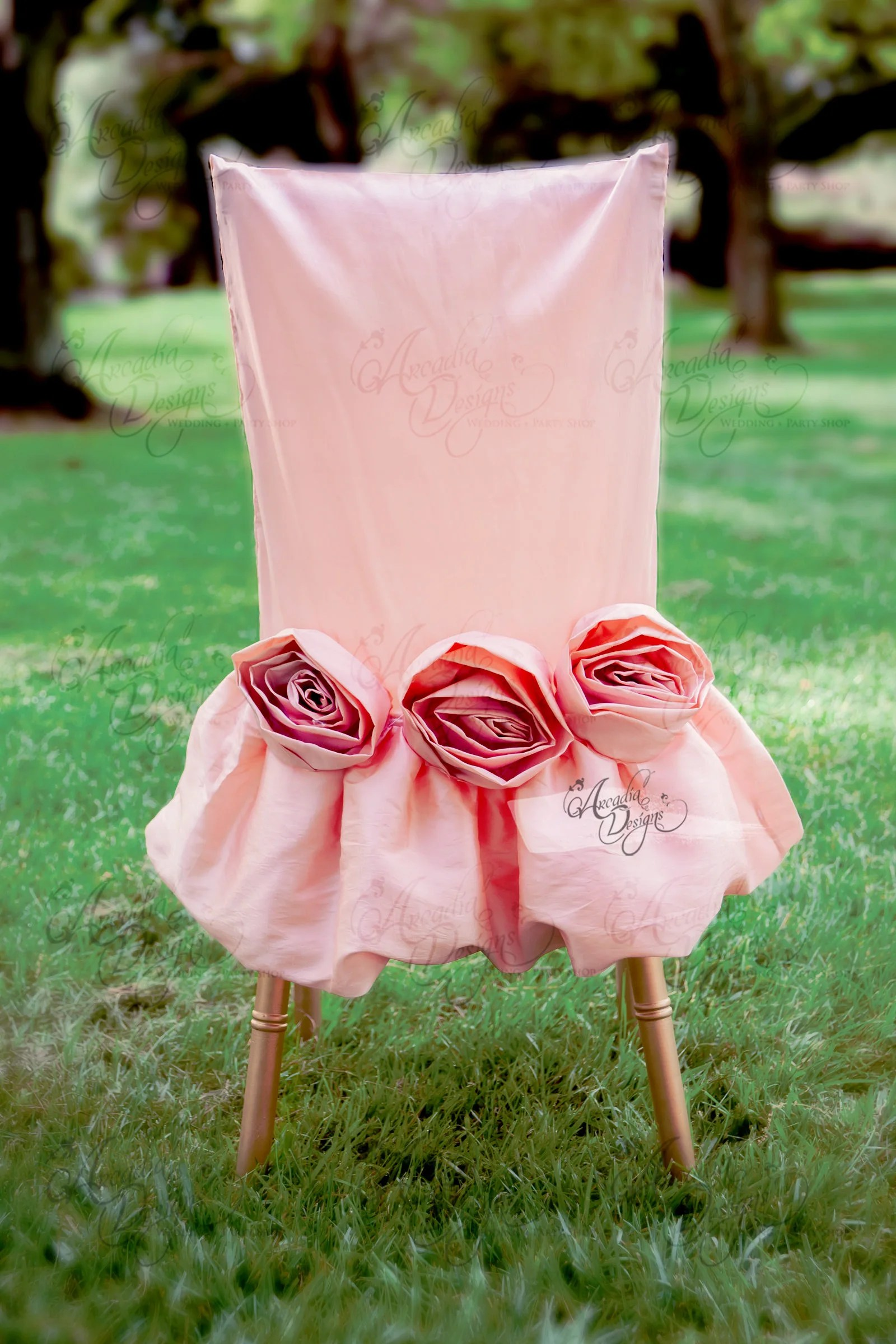blush chair sashes white chaise lounge indoor rosette sash pink rose floral embellishment for
