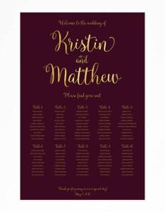 Burgundy gold wedding seating chart faux foil poster also rh lastmarketsp