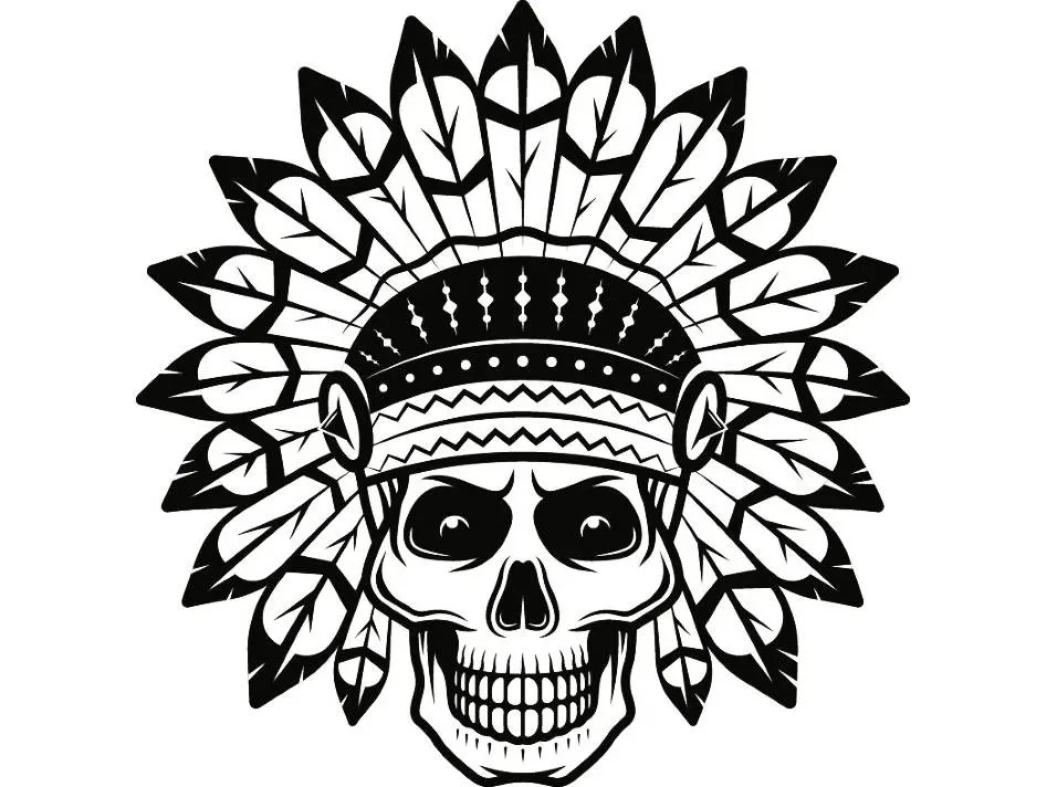Indian Skull 9 Native American Warrior Headdress Feather