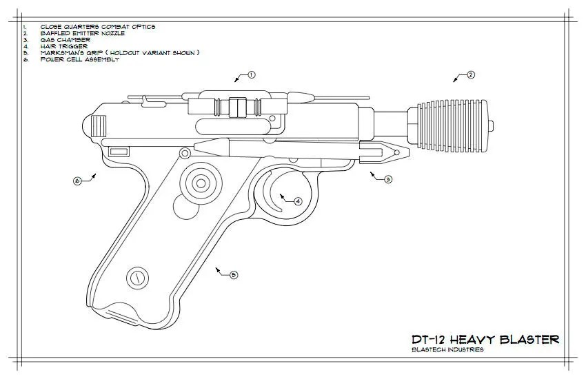 Han Solo's DL-44 Heavy Blaster Schematic Drawing