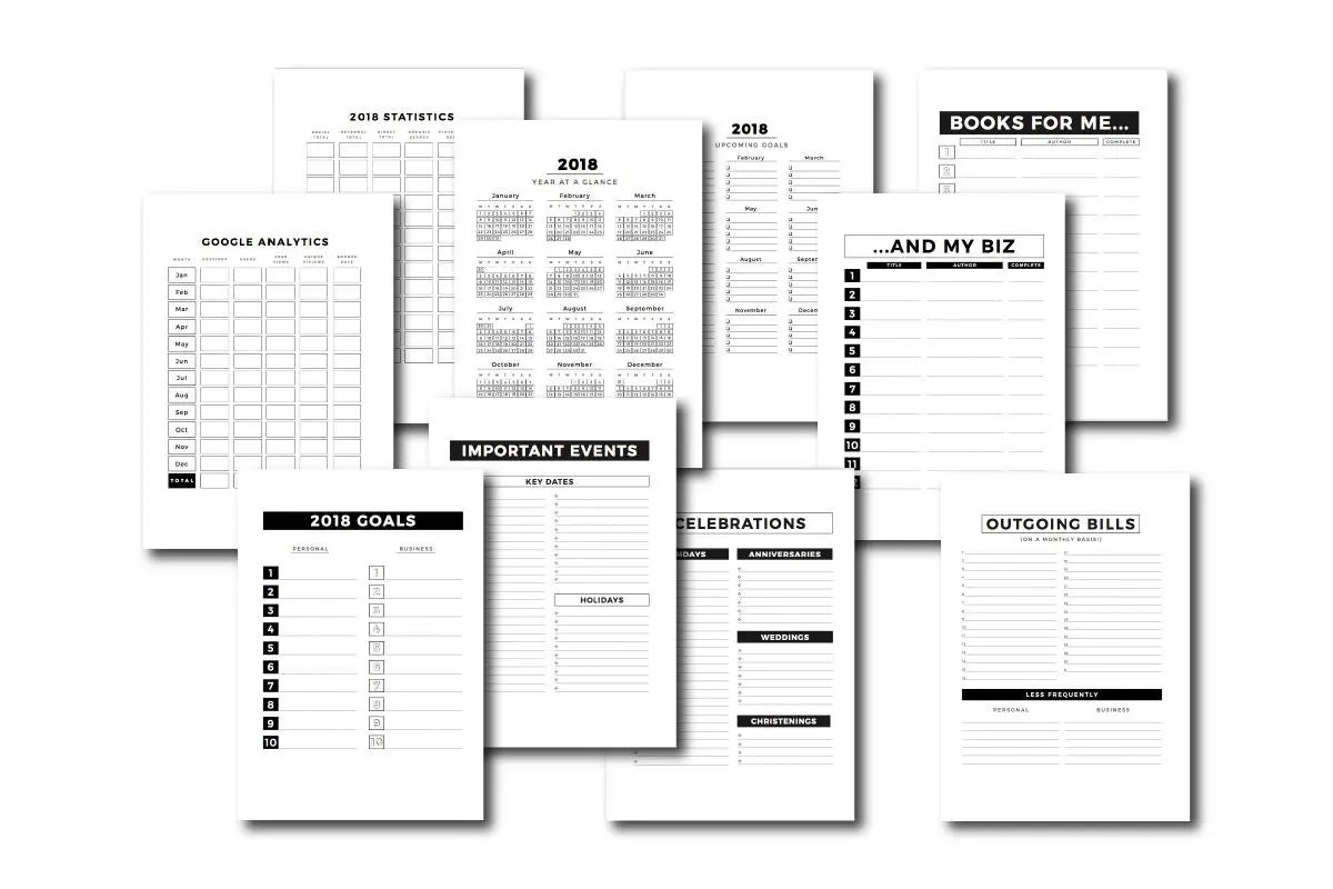 10 Page Basics / At A Glance / 2018 Blog Plan / Yearly Planner