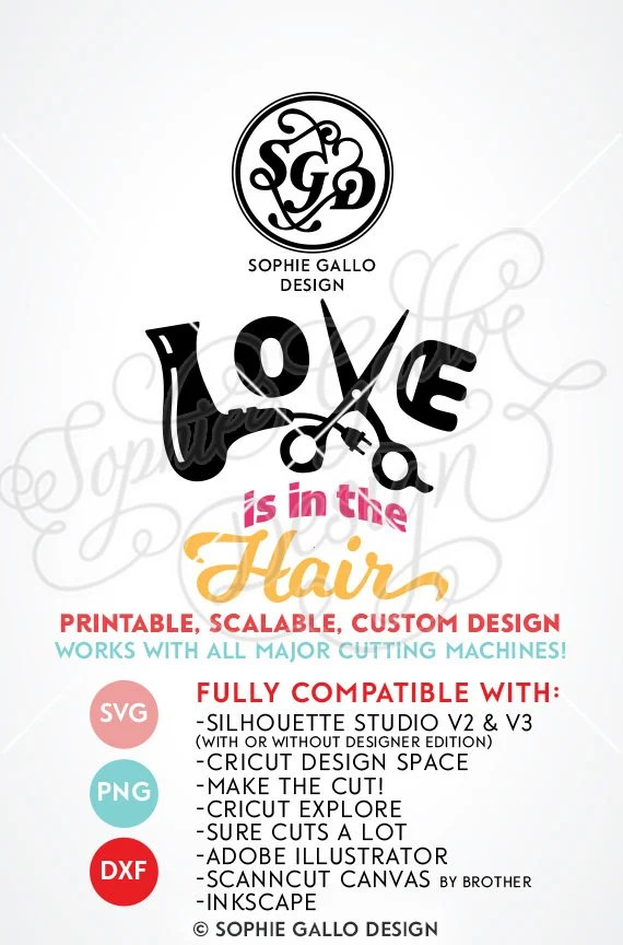 Download Love is in the Hair SVG DXF PNG digital download files for