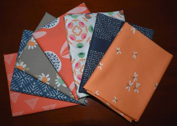 Curiosities Navy And Coral Fat Quarter Bundle Of 7 Jeni Baker Art Fabrics