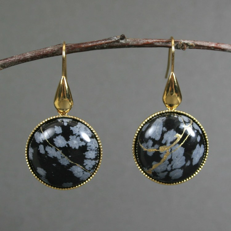 Kintsugi (kintsukuroi) snowflake obsidian stone earrings with gold repair in gold plated settings with gold plated teardrop ear wires - OOAK