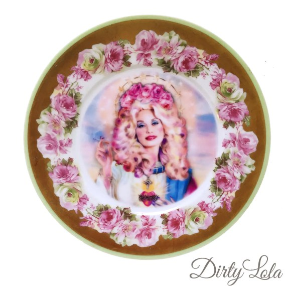 Vintage - Illustrated - Plate - Wall Display - Saint Dolly Parton - Altered - Plate - Antique - Upcycled - Plate