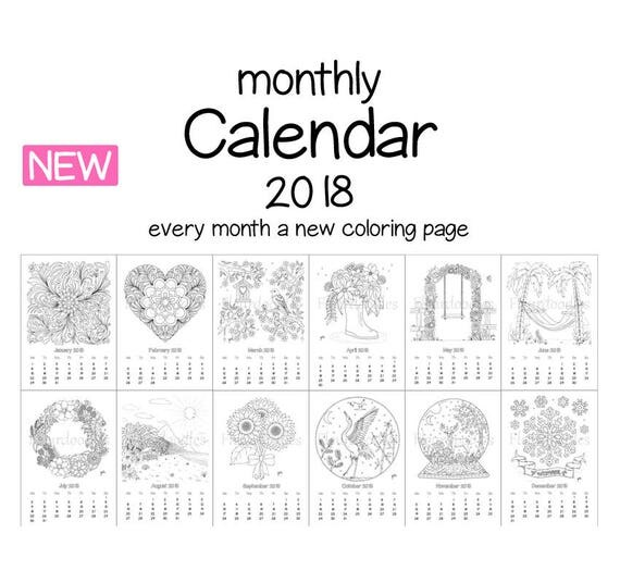 monthly coloring Calendar 2018 printable planner coloring