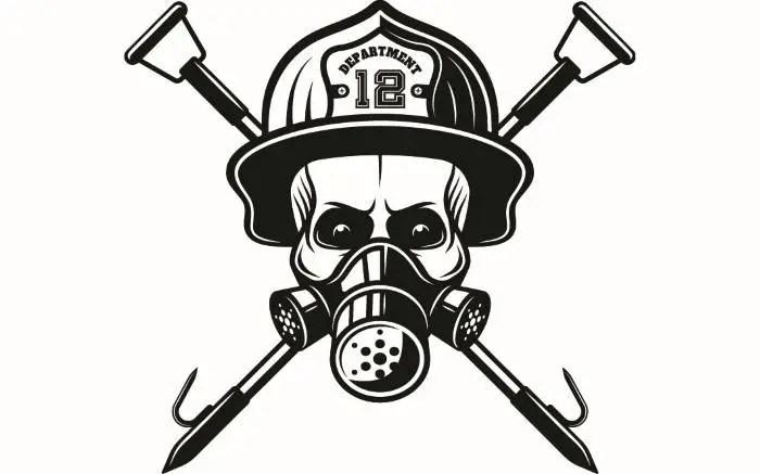 Firefighter Logo #5 Skull Firefighting Rescue Mask Hook